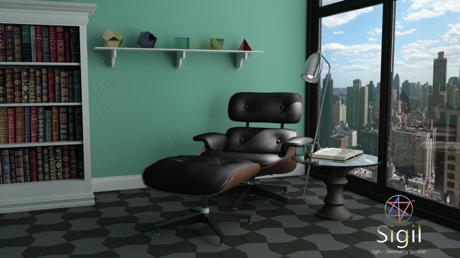 Sigil Digital Geometry Services Manhattan Eames Lounge Chair 4K UHD Render